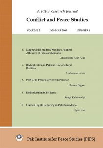 Book Cover: Conflict and Peace Studies, Vol-2, No-1, Jan-Mar 2009