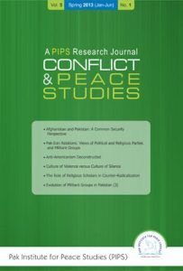Book Cover: Conflict and Peace Studies, Vol-5, No-1, Jan-Jun 2013